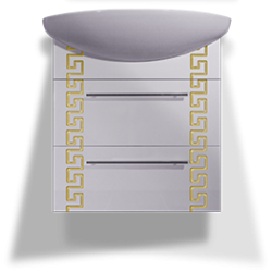 Тумба «Греция» подвесная с керамическим умывальником , золото