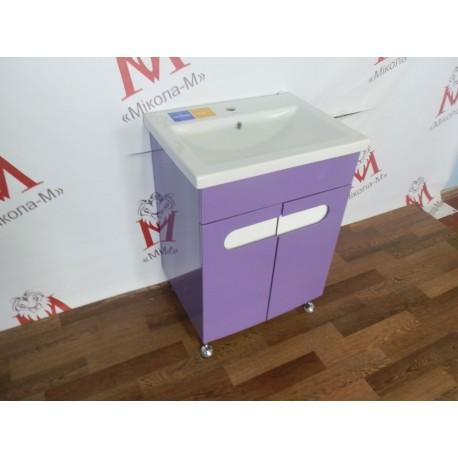 Тумба с квадратным умывальником «Бостон» фиолетовая