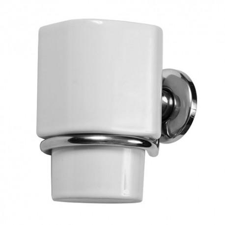 Стакан для зубных щеток керамический с металлическим держателем