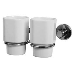 Стакан двойной для зубных щеток керамический с металлическим держателем