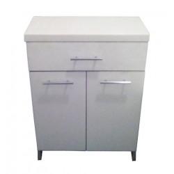Комод пластиковый 2.0 серый с верхним ящиком и дверцами