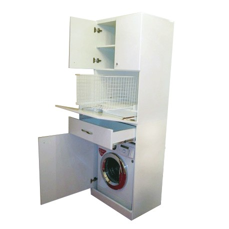 Шкаф под стиральную машину с корзиной для белья