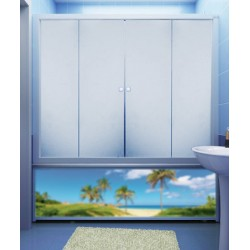 Штора для ванны M-Munj 1400х1400, 4 секции (прозрачное стекло, профиль белый)