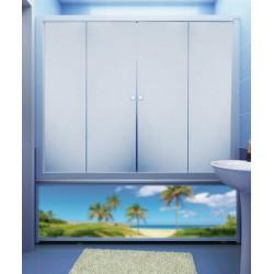 Штора для ванны M-Munj, 4 секции (прозрачное стекло, профиль белый)