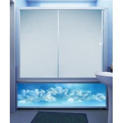 Штора для ванны M-Munj 170х140 см, двухсекционные (прозрачное стекло, профиль белый)