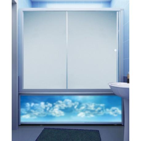Штора для ванны M-Munj 170 см, двухсекционные (прозрачное стекло, профиль белый)