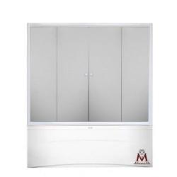 Штора для ванны 4 секции 140х140 см, (матовое стекло, профиль сатин)
