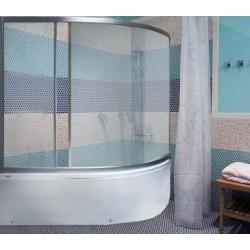 Штора для ванны M-Munj 150х145 см, (асимметричные, трехсекционные, дверь раздвижная, матовое стекло, профиль сатин)