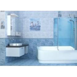 Штора угол на ванную 70х140 см (матовое стекло, профиль сатин)