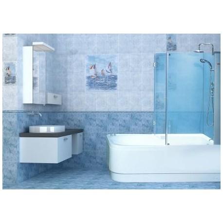 Штора угол на ванную (матовое стекло, профиль сатин)