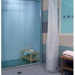 Штора-кабина на ванную двухсекционная 120х180 см (матовое стекло, профиль сатин)