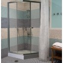 Душевая кабина (мелкий квадратный поддон,профиль сатин, стекло матовое) 90х90х190