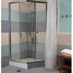 Душевая кабина (мелкий квадратный поддон,профиль сатин, стекло матовое) 80х100х190