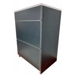 Тумба пластиковая 2.0 Антрацит распашные двери с прямоугольным умывальником
