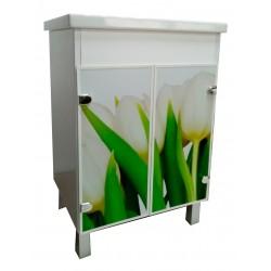 Тумба Mikola-M Eco Green light Тюльпаны с умывальником CERSANIT COMO 50см