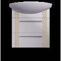Тумба «Греция» подвесная с квадратным умывальником , золото